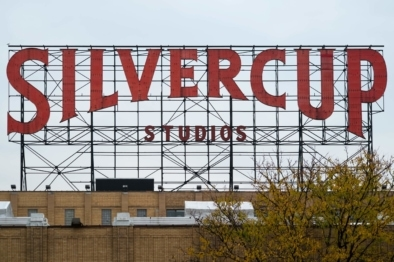 silvercup studios metal sign and logo, oliver lins